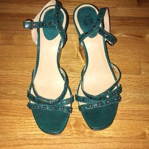 Frye Bridget Studded Teal Wedges 10
